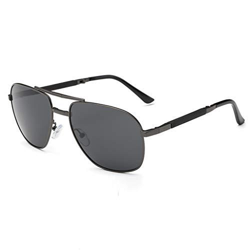 Herren Damen Sonnenbrille Polarisierte Falten Gläser Ultra Leicht Verspiegelt PPangUDing Fahren Retro Metall Rahmen Design Classic Original Ultraleicht Outdoor Sport (Eine Größe, Schwarz)