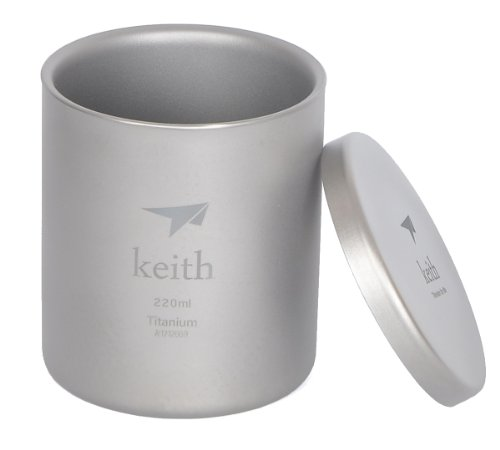 Keith Titanium Double Wall Mug No Handle Camping Hiking Vacuum Cup 90g(Ti3301)