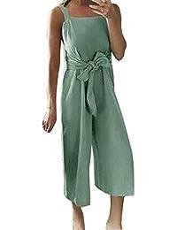 Subfamily Combinaison Femme ete Jumpsuit de Plage Jumpsuit Femme sans  Manches Combinaison en Lin et Coton 9674985f7a0