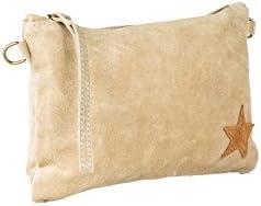 Laura Moretti Handbags - Bolso de mano (cartera) de piel con cinta para la muñeca, bolsillo interiror y pequeña estrella en una esquina (incluye correa para el hombro)