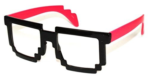 OE New Pixelated 8-Bit Computer Gamer Mario Geek Fun Party CPU Glasses - Over 30 Styles - Clear Lens