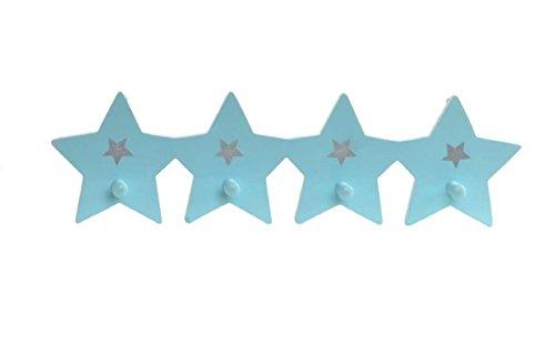 Lilienburg Garderobenhaken Garderobe Haken Wandgarderobe Kleiderhaken KINDERZIMMER STERN 48 cm gross (Blau)