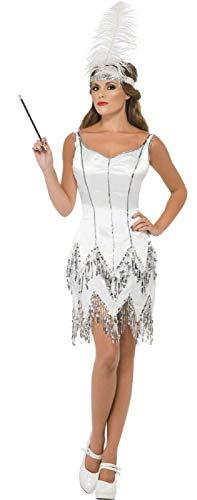 Jazz Kostüm 1920 - Fancy Me Damen weiß Silber Pailletten 1920s Jahre 1930s Jahre Flapper Charleston Jazz Kostüm Kleid Outfit UK 8-18 - Weiß, 8-10