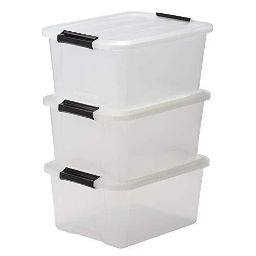 Iris Ohyama, Set - 3 boîtes de rangement empilables avec fermeture clic - Top Box - TB-15, plastique, transparent, 15 L, 39 x 29 x 25,2 cm