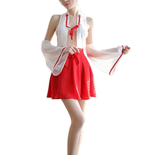 paloli Damen Dessous Set Kimono Bekleidung Hexe Uniform Fancy Anime Cosplay - Rot - Einheitsgröße (Womens Gute Hexe Kostüm)