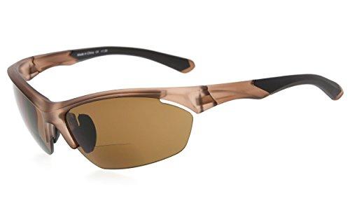 Eyekepper TR90 Sport Bifokale Sonnenbrille Baseball Laufen Angeln Fahren Golf Softball Wandern Halbrandlose Lesebrille (Matt braun, 2.00)