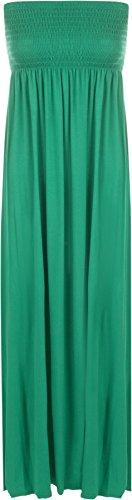 WearAll - Damen einfachen shirred bandeau trägerloses mit rüschen besetztes langes Maxi Kleid - Jade - 36-38