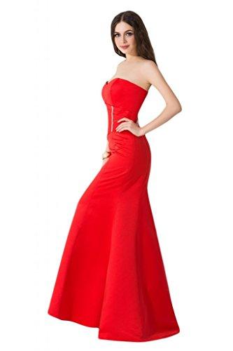 Sunvary taglio Slim Pageant sirena raso per abiti da sera, abiti in cartone di celebrità Rosso