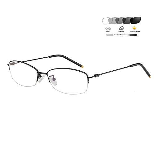 Eyetary Ultraleichte Lesebrille Damen Transition Photochrome Sonnenbrillen Halbrahmen Leser- 1.56 Index Asphärische Linse - UV400 / Blendschutz / 0,50 bis 6,00 Vergrößerung,Black,+3.50D
