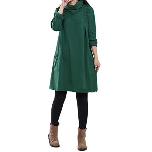 NPRADLA 2018 Damen Kleid Plus Größe Pocket Button Langarm Baumwolle Und Leinen Lose - Kostüm Paare Plus Größe