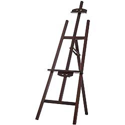 Homcom Chevalet d'artiste sur Pieds Inclinaison réglable jusqu'à 90° dim. 48L x 71l x 140H cm Bois de hêtre Marron