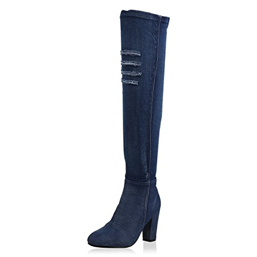 napoli-fashion Damen Schuhe Overknees Denim Stiefel Cut-Outs Blockabsatz Dunkelblau Denim 38 Jennika