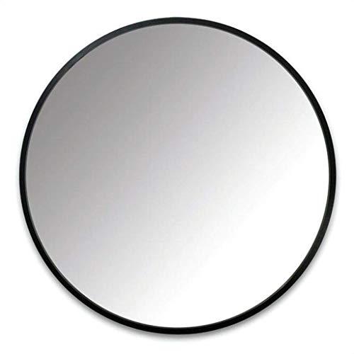 Espejo - baño Redondo montado en la Pared, Marco de Metal casero, Estilo Minimalista nórdico (Color : Negro, Tamaño : 70cm)