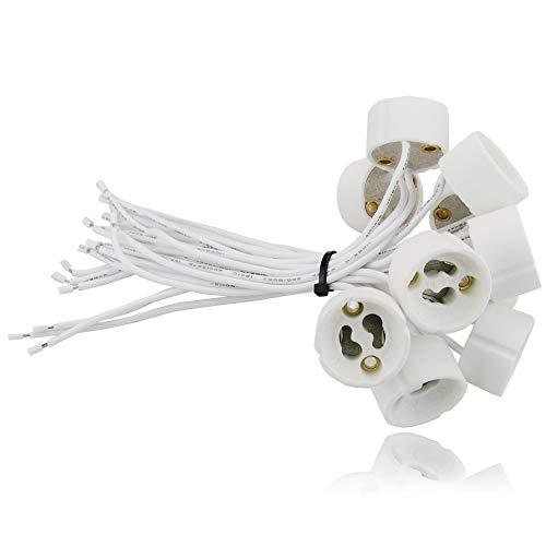 sweet-led - aus Keramik mit Qualitäts -  0,75mm² Silikonkabel - GU10 Fassung (230V) für LED und Halogen - 10 Stück - GU10 Socket Sockel Lampenfassung