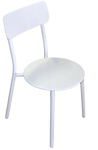 Chaise en Acier soudé Tube Ø25mm Coloris Blanc époxy traité- A UAGE Professionnel - Dim : H 61 x L 50 x P 41 cm