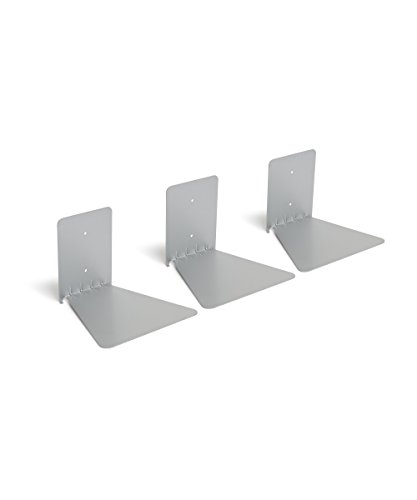 Umbra 1005073-560 Conceal 3-Pack Book Shelf, schwebendes Bücherregal aus Metall, Set von 3, Silber (Bücherregal Book)