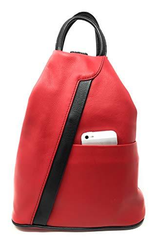 RW Fashion Damen Rucksack Leder soft Made in Italy Schultertasche Umhängetasche Henkeltasche RL30823, ca 31 x 25 x 12 cm (Rot (Rot,Schwarz))
