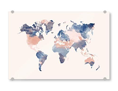 artboxONE Acrylglasbild 45x30 cm Reise World Map Blush pink and Navy - Bild Watercolor map Blush Rose Navy Blue