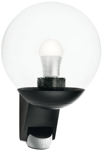 Steinel Außenwandleuchte L 585 schwarz, 180° Bewegungsmelder, Max. 12 m Reichweite, klassisch, mundgeblasenes Glas