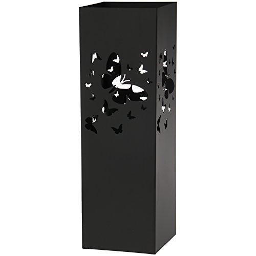 DRW Paraguero Metal Negro Cuadrado 15,5x15,5x49 cm