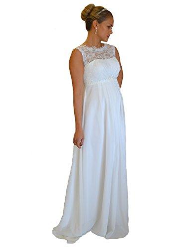Brautkleid TRAUM Hochzeitskleid A-Linie Umstandskleid Weiß Ivory Größe 34 bis 52 (36, Ivory)