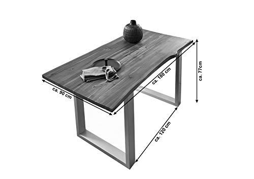 SAM® Stilvoller Esszimmertisch Ida aus Akazie-Holz, Baumkantentisch mit lackierten Beinen aus Roheisen, naturbelassene Optik mit Einer Baumkanten-Tischplatte, 180 x 90 cm - 7
