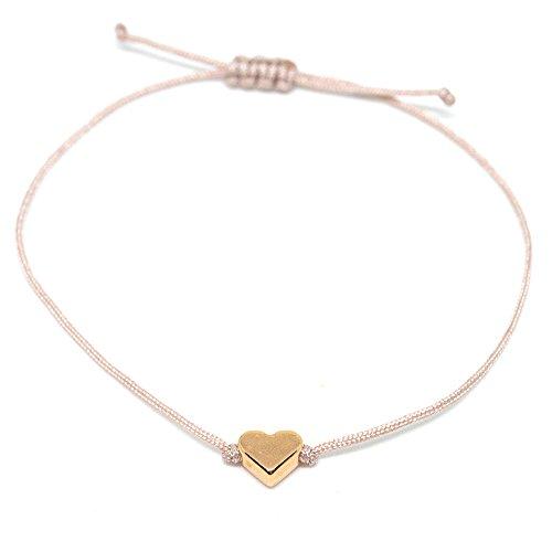 SelfmadeJewelry Herz Armband Roségold - Hellbraunes/Beiges Armband Textil mit rosegoldenem Herz - Größenverstellbar - Handmade
