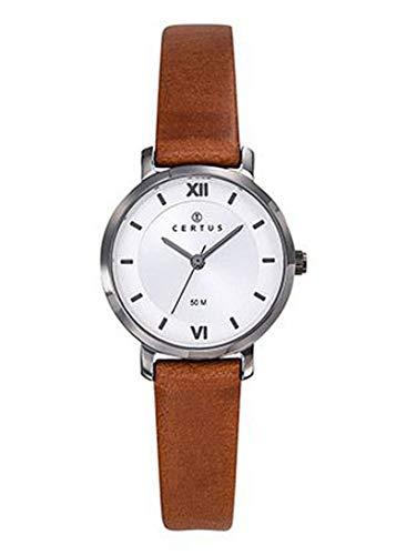 Certus–Reloj Mujer–h644m434–Pulsera Piel Marrón–Caja Acero Gris–Reloj Color Blanco