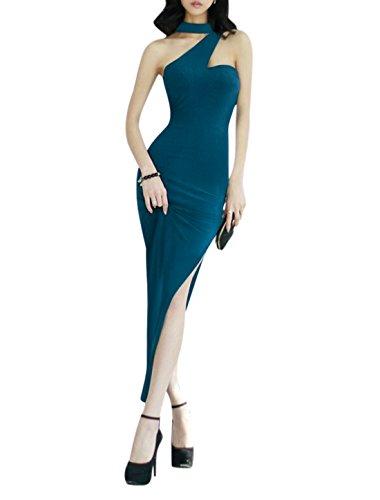 Femme Irrégulière Col Sans Manche Fente Ourlet Robe Grande Taille Bleu