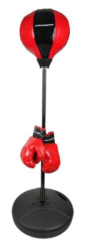 Ultrasport Punchingball Boxstand für Jugendliche und Kinder, Punching Stand für Wasser-/Sandfüllung, höhenverstellbar, Boxsack Set inkl. Boxhandschuhe