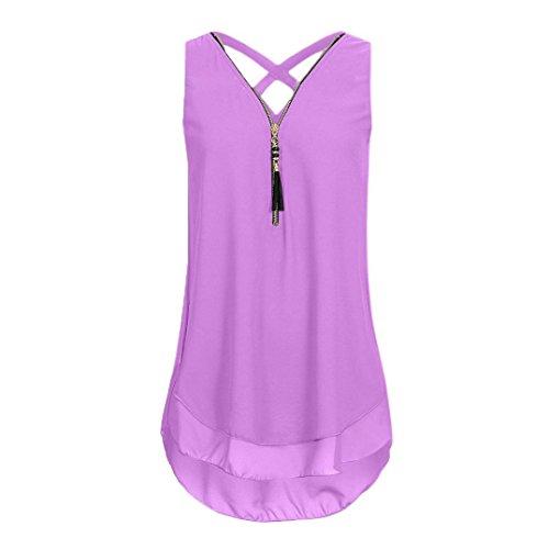 iHENGH 10 Farben Damen Lose Übergröße Ärmelloses Tanktop Kreuz zurück Saum Gelegt Reißverschluss V-Neck T-Shirts Tops, S-5XL(XXXX-Large,Lila) (50er Jahre Bowling-shirt)