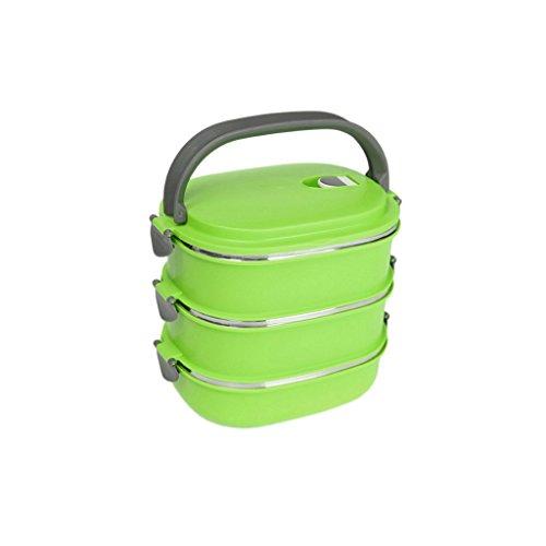 D DOLITY Thermobehälter Thermoschüssel Isolierschüssel Isolierbehälter bis 3 Schichten, Geeignet für Speisen, Essen, Suppe - Grün, 20 * 15* 18.5cm