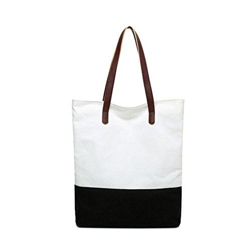 Canvas Travel Tote Bag Stillshine Strandtasche Schultertasche Urlaub Einkaufstasche Everyday Geldbörse Casual Bag für Damen und Mädchen Schwarz und Weiß