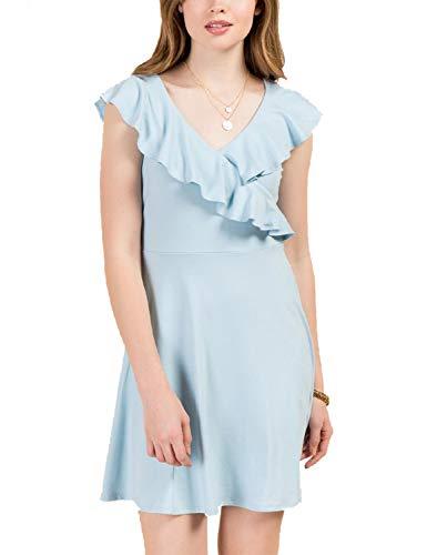 Blooming Jelly Women's V Neck Ruffle Backless Mini Dresses for Women Summer Blue