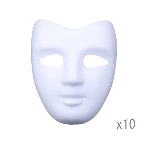 aske Zellstoff Blank Handgemalte Maske Persönlichkeit Kreative Freie Design Maske Weiß 10 stücke(V Gesicht) ()