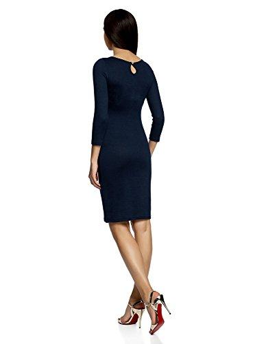 oodji Collection Damen Jersey-Kleid mit Tropfen-Ausschnitt am Rücken Blau (7900N)