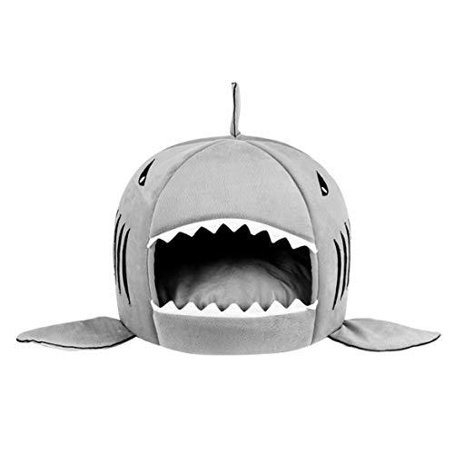 (JohnJohnsen Einzigartige haifisch-mundförmige Haustiere Hundebett Weiche Warme Plüsch Hund Haus Wasserdichte Haustier Nest Hund Warme Nest Für Katze Welpen Heimtierbedarf (grau))