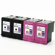 Inktoner 4 Pack (2BK/2C) New HP 61XL ink cartridge For...