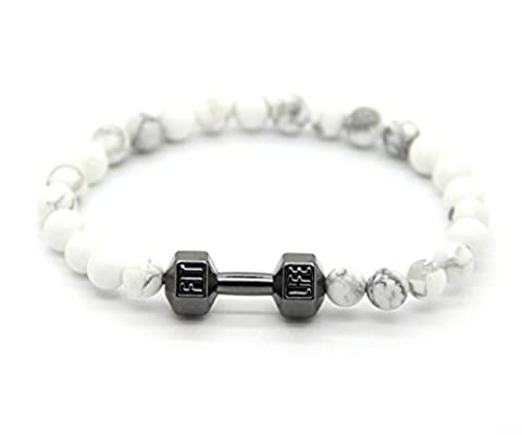 GOOD.designs Fitness Bead Bracelet made of natural white howlite stone, dumbbell pendant in black, silver and gold