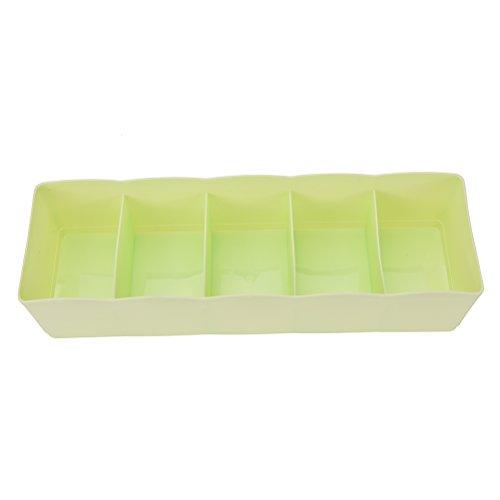BEAUTOP 5Zellen Socken Unterwäsche Schublade Schrank Home Organizer Storage Box Case Trennwand, Plastik, grün, 26.7 x 6.8 x 8cm