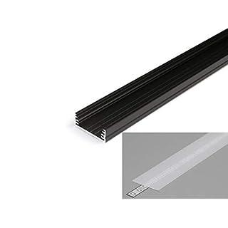 LED Profil 3,2cm breit Aluminium Schwarz eloxiert für LED Streifen 2m inkl. Abdeckung satiniert UV beständig, für LED Bänder bis max. 29,8mm. (Schwarz, 2m opal)