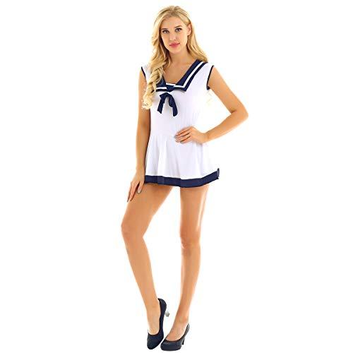 YOOJIA Damen Sailor Schulmädchen Cosplay Kostüm Babydoll Kleid Ärmellos A-Linie Stretchy Minikleid Kostüm mit G-String Slip Marine Blau & Weiss XXXL