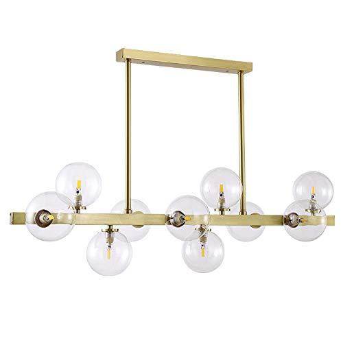 Messing Post Oben (Cwill Post moderne Foyer Light Luxus Kronleuchter Real Messing Gold Körper 7/10/12 Köpfe Glas Droplight LED G9 Lampe Leuchte, GOLD, 7 LAMP)