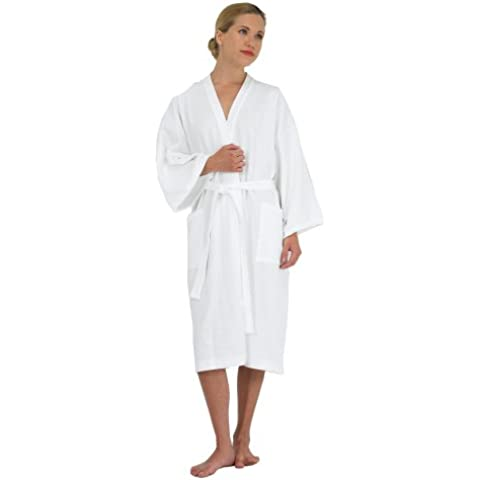 Canyon Rose Waffle Weave Unisex Spa Robe, XL, White by