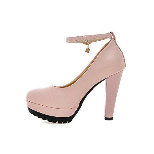 AllhqFashion Damen Schnalle Rund Zehe Hoher Absatz Pu Leder Rein Pumps Schuhe Pink