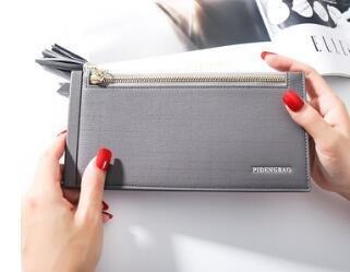 LaDicha Women Pu Leder Multi Card Organizer Wallet Quaste Damen Geldbörse Mit Reißverschlusstasche - Grau