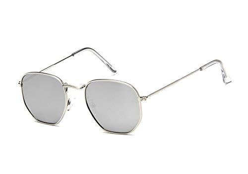 MJDABAOFA Sonnenbrillen Vintage Sechskant Silber Sonnenbrille Frauen Männer Fashion Retro Rückspiegel Sonnenbrille Weiblich Männlich Uv400