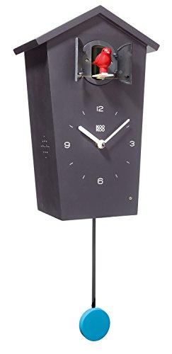 KOOKOO Birdhouse Noir, Coucou Moderne avec Chants des 12 Oiseaux ou Coucou, Horloge Coucou Design avec Pendule, Enregistrement naturels de Jean-Claude Roché