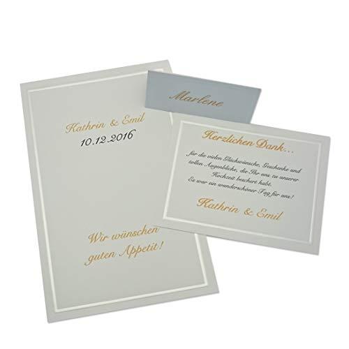 Menükarten und Tischkarten (je 30 Stück) - zur Hochzeit, Geburtstag, Jubiläum, Feier - DIY einfach selber bedrucken
