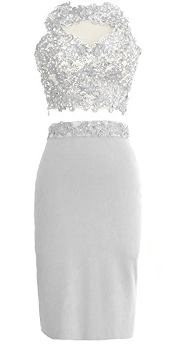 MACloth Gorgeous 2 Piece Jersey Cocktail Dress Short Prom Homecoming Formal Gown white